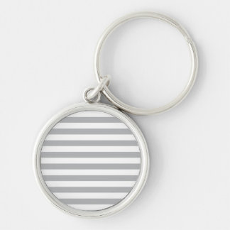 Grey Horizontal Stripes Silver-Colored Round Keychain