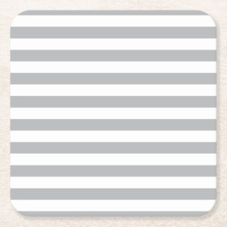 Grey Horizontal Stripes Square Paper Coaster