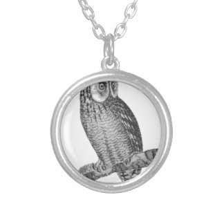 Grey Horned Owl Illustration Silver Plated Necklace