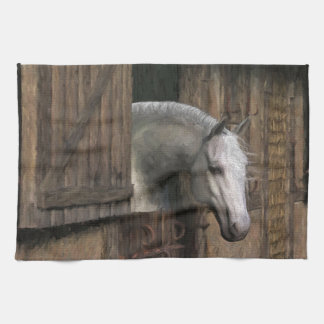 Grey Horse at the Stable Door Kitchen Towel