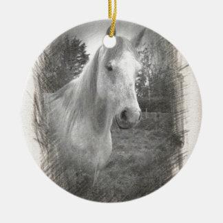 Grey Horse picture Round Ceramic Ornament
