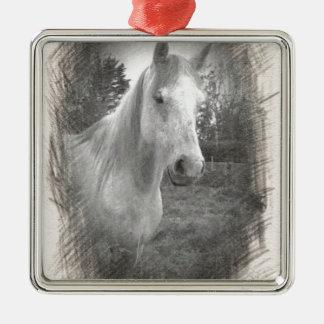 Grey Horse picture Silver-Colored Square Ornament