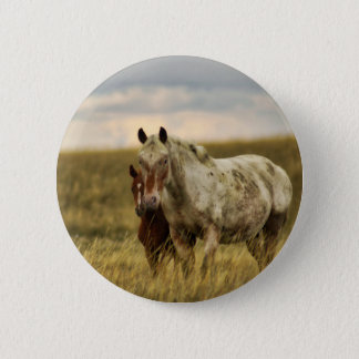 Grey Horse with Baby 2 Inch Round Button