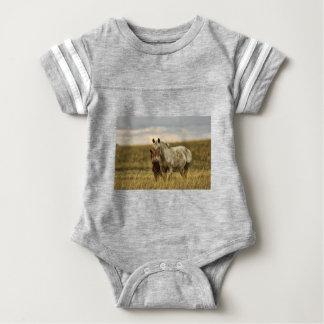 Grey Horse with Baby Baby Bodysuit