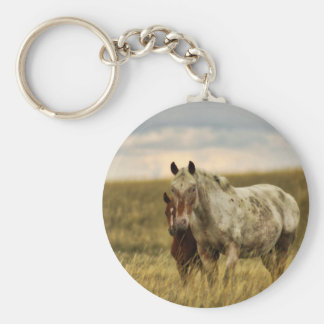 Grey Horse with Baby Keychain