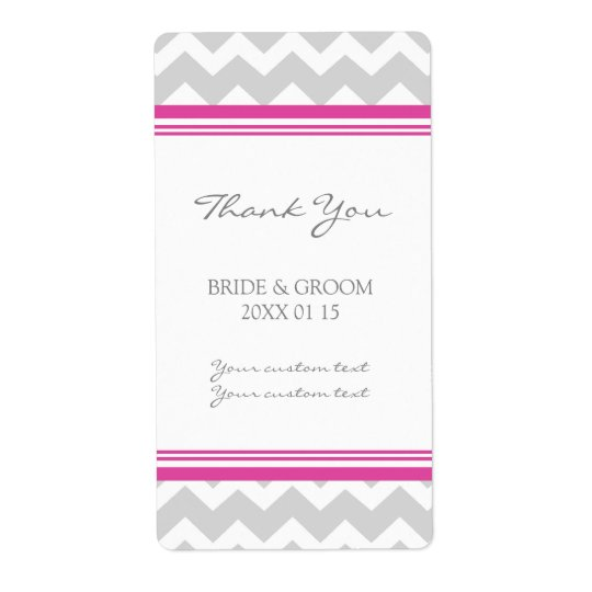 Grey Hot Pink Chevron Wedding Labels