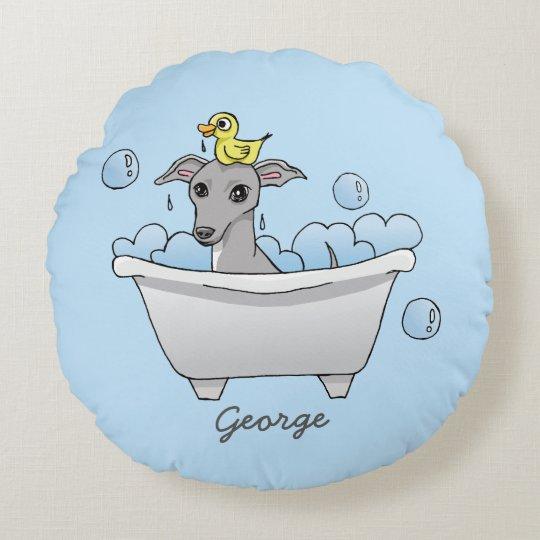 Grey Hound Dog Bath Time Illustration Round Pillow
