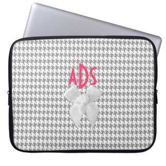 Grey Houndstooth Laptop Computer Sleeves