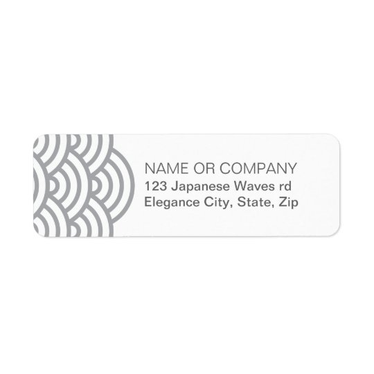 Grey Japanese abstract wave return address label