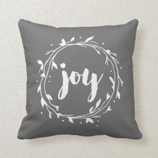 Grey Joy Wreath Throw Pillow