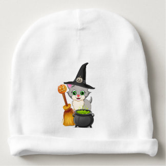Grey Kitten Halloween Cartoon Baby Beanie