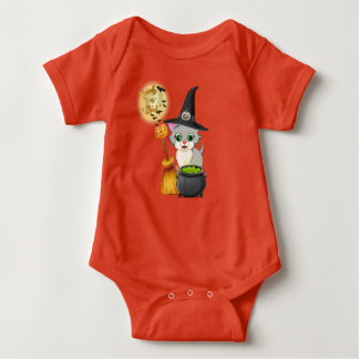 Grey Kitten Halloween Cartoon Baby Bodysuit