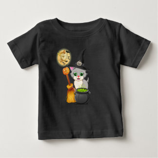 Grey Kitten Halloween Cartoon Baby T-Shirt