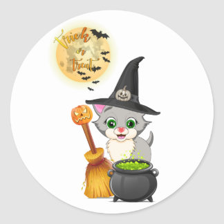 Grey Kitten Halloween Cartoon Classic Round Sticker