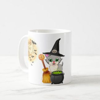Grey Kitten Halloween Cartoon Coffee Mug