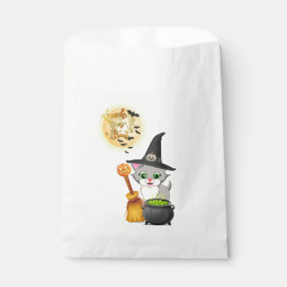 Grey Kitten Halloween Cartoon Favour Bag