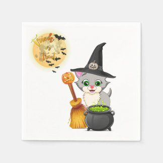 Grey Kitten Halloween Cartoon Paper Napkins