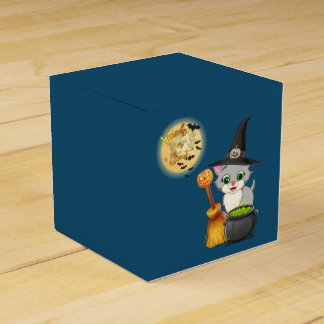Grey Kitten Halloween Cartoon Party Favor Box
