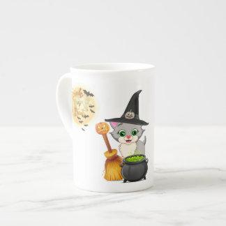 Grey Kitten Halloween Cartoon Tea Cup