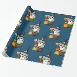 Grey Kitten Halloween Cartoon Wrapping Paper