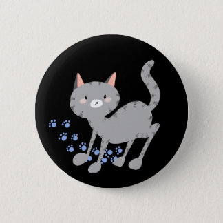 Grey Kitty Badge 2 Inch Round Button