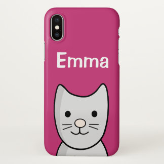 Grey Kitty Cat Closeup iPhone X Glossy Case