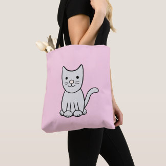 Grey Kitty Cat Tote Bag