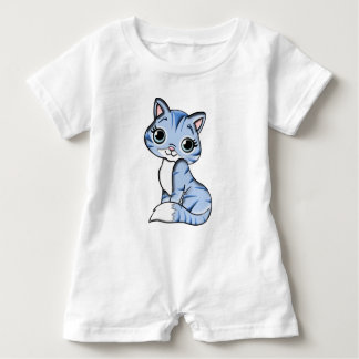 Grey Knit Kitty Cat Baby Romper