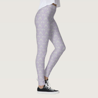 Grey & Lavender Purple Damask Floral Pattern Leggings