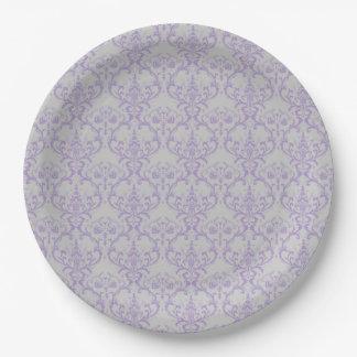Grey & Lavender Purple Damask Floral Pattern Paper Plate