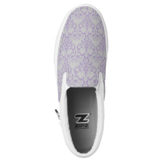 Grey & Lavender Purple Damask Floral Pattern Slip-On Sneakers