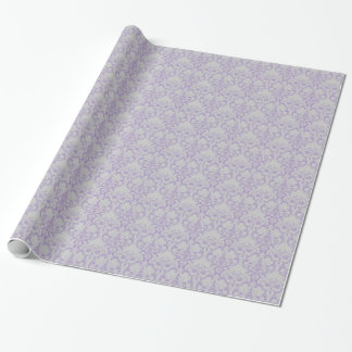 Grey & Lavender Purple Damask Floral Pattern Wrapping Paper