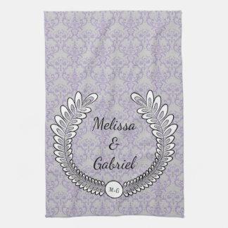 Grey & Lavender Purple Floral Wreath Pattern Kitchen Towel