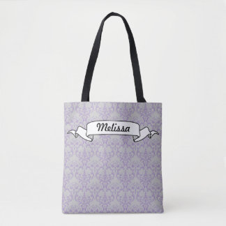Grey & Lavender Purple Polka Dot Floral Pattern Tote Bag