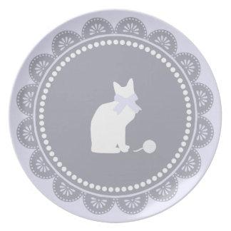 Grey Lavender Vintage Lace Doily & Cute White Cat Party Plate