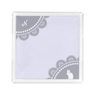 Grey Lavender Vintage Monogram Lace & White Cat Perfume Tray