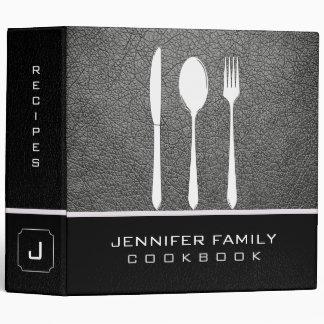 Grey Leather Family Cooking Vinyl Binders