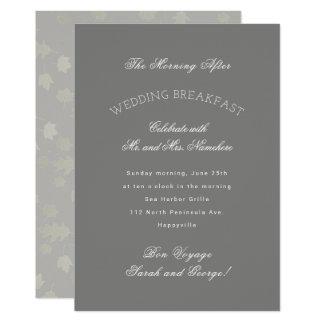 Grey Leaves Autumn Wedding Breakfast Invitation