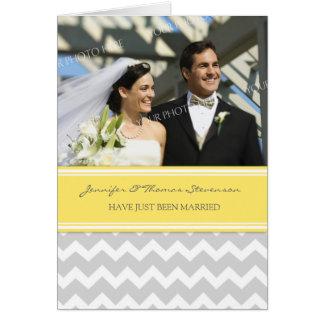 Grey Lemon Chevron Just Married Photo Announcement