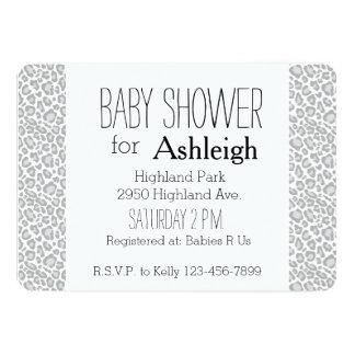 Grey Leopard Print baby shower Card