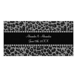 Grey leopard print wedding favors customized photo card