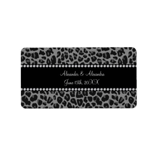 Grey leopard print wedding favours label