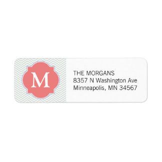 Grey & Light Coral Modern Chevron Custom Monogram Return Address Label