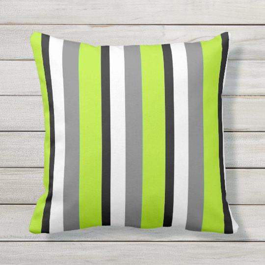 Grey Lime Black White Stripe Throw Pillow