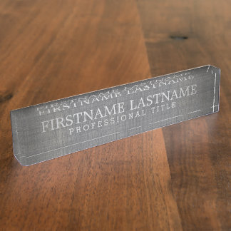 Grey Linen - Basic Name and Professional Title Nameplate