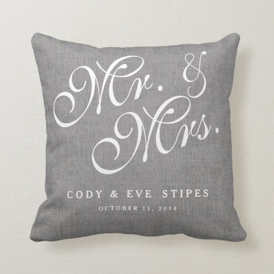 Grey Linen Initials Mr. and Mrs. Wedding Pillow