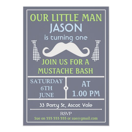 Grey Little Gentleman Moustache Birthday Card