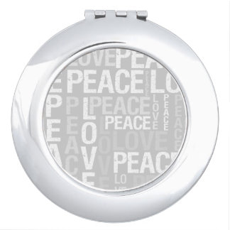 Grey Love and Peace Typography Makeup Mirror