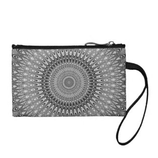 Grey mandala coin purse
