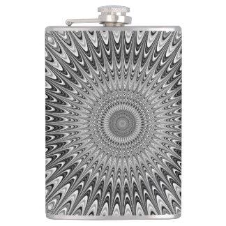 Grey mandala hip flask